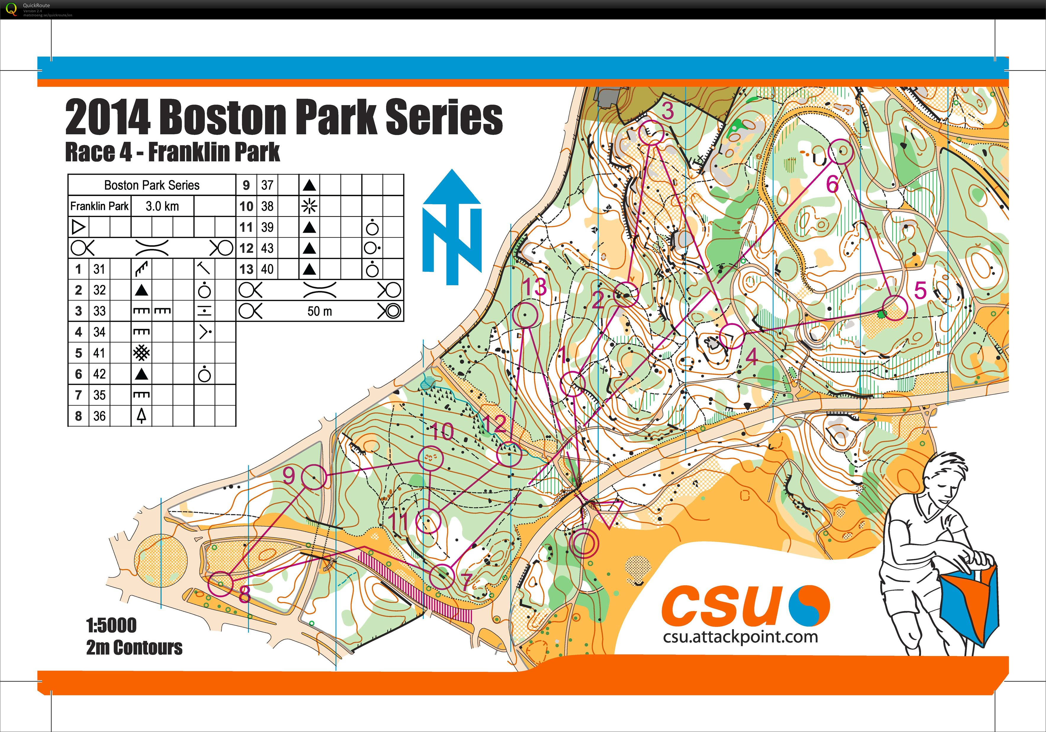 Franklin Park O May 8th 2014 Orienteering Map From Alex Jospe