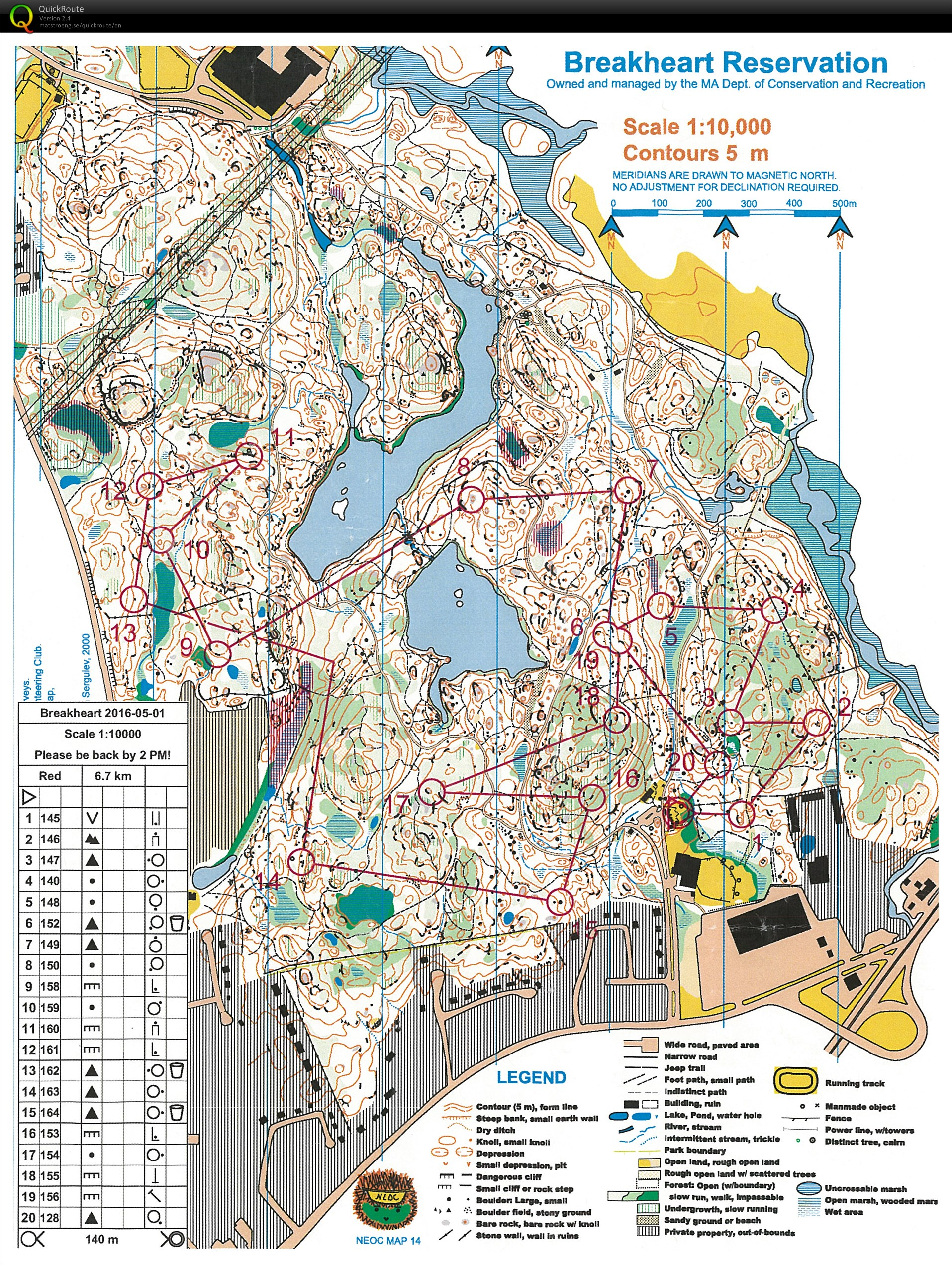 NEOC event at Breakheart - May 1st 2016 - Orienteering Map from Alex ...